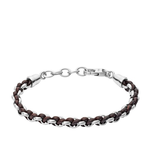 Woven Stainless Steel and Brown Leather Bracelet JF02936040