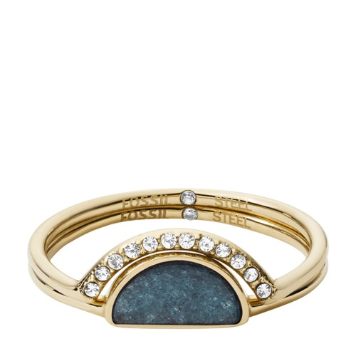 fossil Duo Half-Moon Jade and Gold-Tone Steel Rings JF029487108