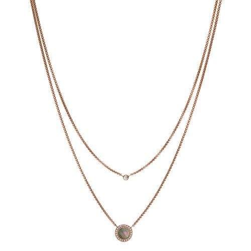 Double Gray Mother-of-Pearl Disc Pendant Necklace JF02953791