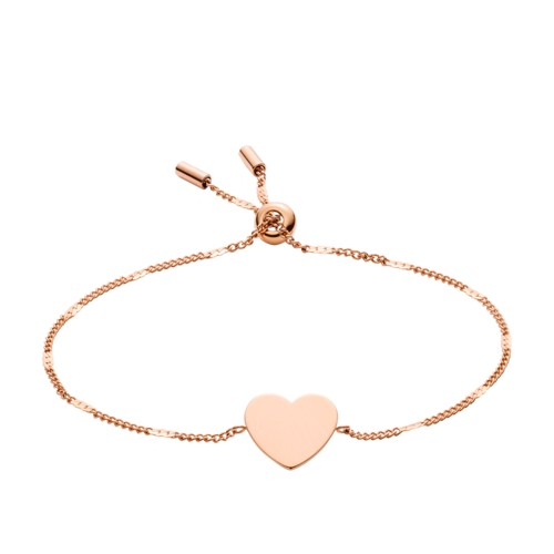 fossil Engravable Heart Rose Gold-Tone Steel Bracelet JF02965791