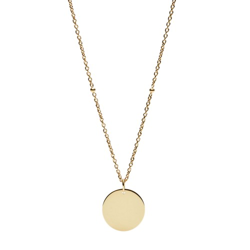 Fossil Engravable Disc Gold-Tone Steel Necklace  jewelry JF029687