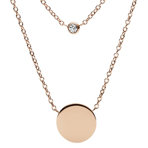 fossil Engravable Double Glitz Rose Gold-Tone Steel Necklace JF02973791