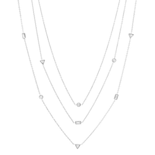 fossil Multi-Strand Beaded Steel Necklace JF02977040
