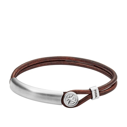 Compass Stainless Steel and Leather Bracelet JF02995040