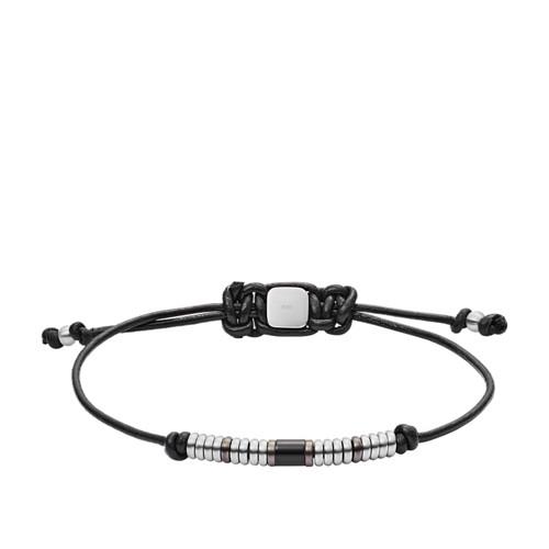 fossil Rondelle Black Leather Bracelet JF02996998