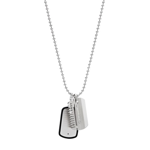 fossil Dog Tag Stainless Steel Necklace JF02997040