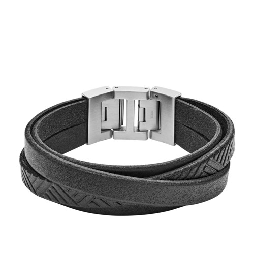 Textured Black Leather Wrist Wrap JF02998040