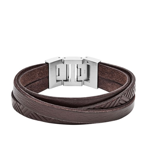Textured Brown Leather Wrist Wrap JF02999040