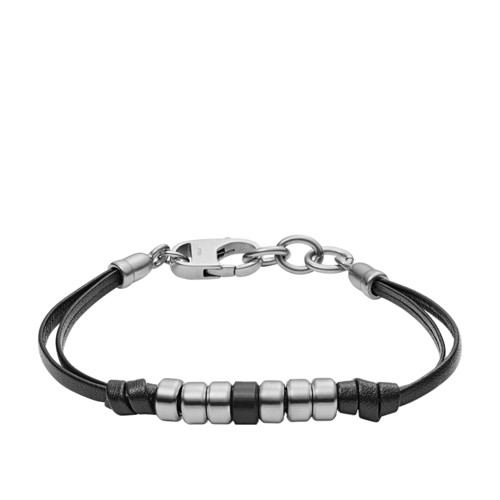 Fossil Rondelle Black Leather Bracelet Jf03000040 jewelry - JF03000040-WSI
