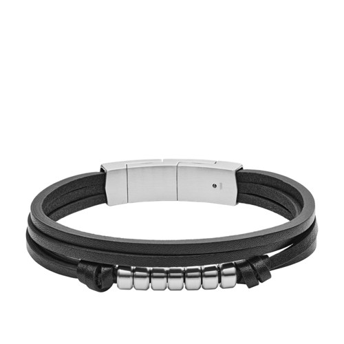 Multi-Strand Black Leather Bracelet JF03001040