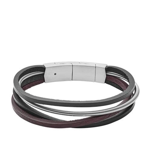 fossil Multi-Strand Silver Leather Bracelet JF03002040