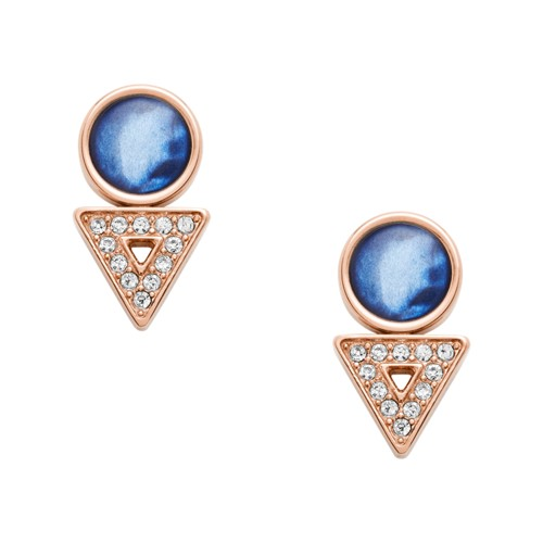 Geometric Rose Gold-Tone Stainless Steel Earrings JF03009791