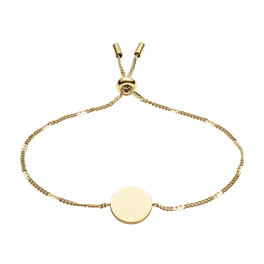Fossil Engravable Disc Gold-Tone Stainless Steel Bracelet Jf03020710 jewelry - JF03020710-WSI