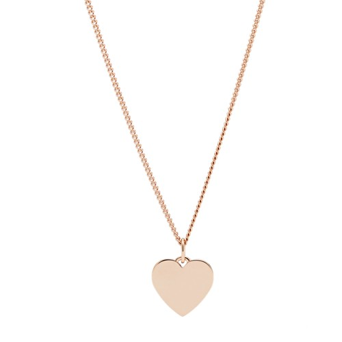 fossil Engravable Heart Rose Gold-Tone Stainless Steel Necklace JF03021791