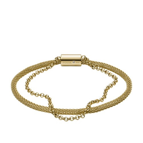Double-Strand Mesh and Gold-Tone Stainless Steel Bracelet JF03022710