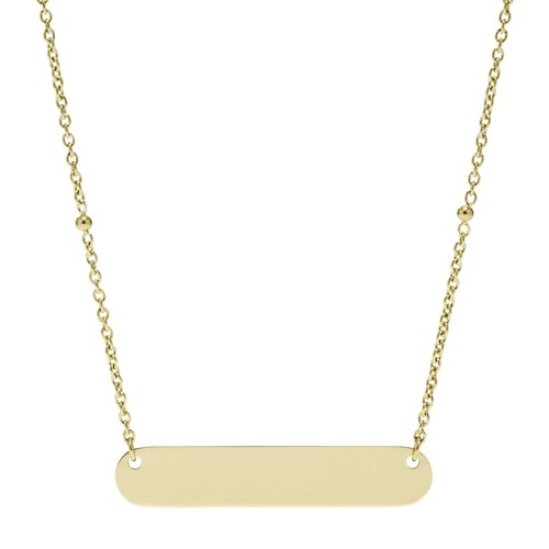 fossil Engravable Plaque Gold-Tone Stainless Steel Necklace JF03025710