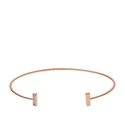 fossil Rose Gold-Tone Stainless Steel Glitz Cuff JF03029791
