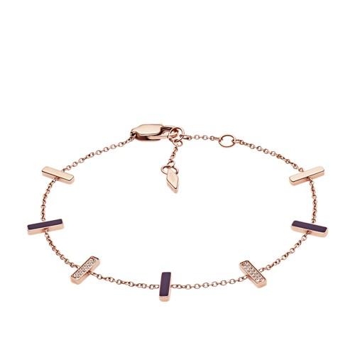 fossil Rose Gold-Tone Stainless Steel Glitz Bracelet JF03030791