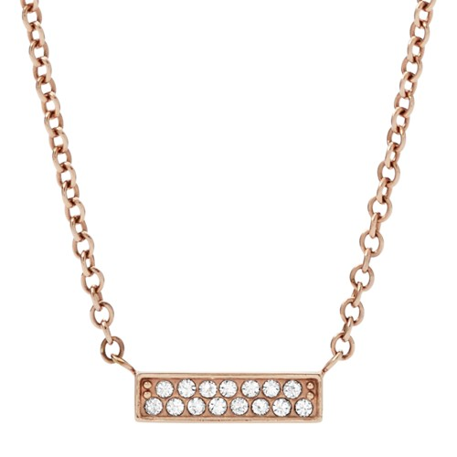 fossil Rose Gold-Tone Stainless Steel Glitz Necklace JF03031791