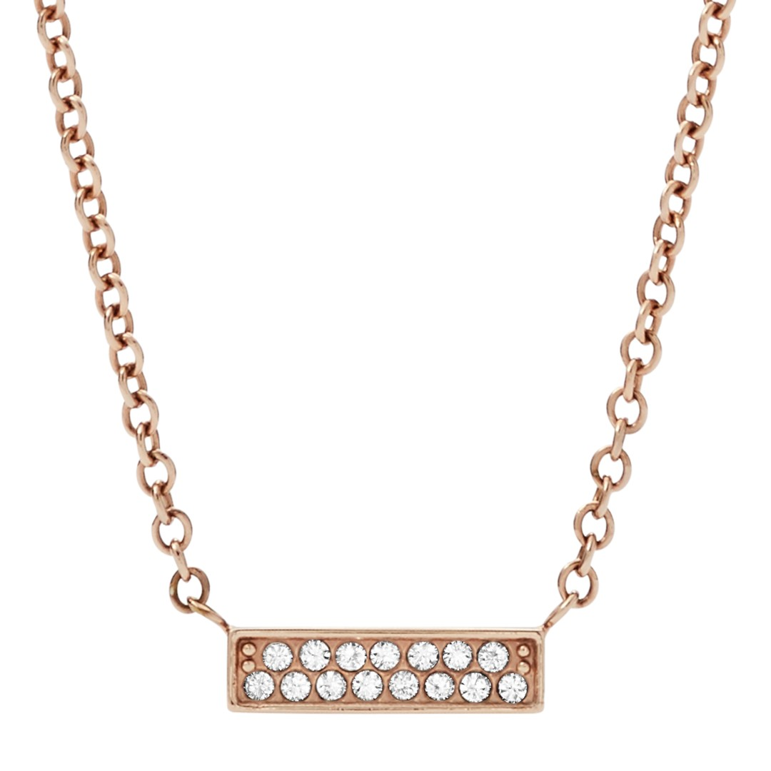 Fossil Rose Gold-Tone Stainless Steel Glitz Necklace Jf03031791 jewelry - JF03031791-WSI