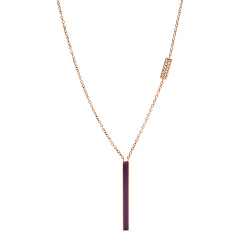 fossil Rose Gold-Tone Stainless Steel Glitz Necklace JF03032791