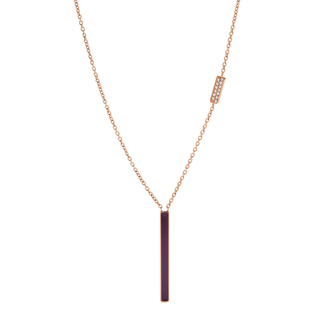 Fossil Rose Gold-Tone Stainless Steel Glitz Necklace Jf03032791 jewelry - JF03032791-WSI