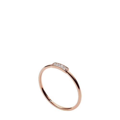 fossil Rose Gold-Tone Stainless Steel Glitz Ring JF030337918