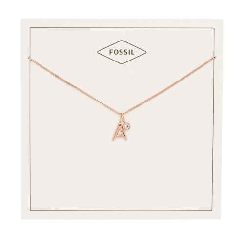 fossil Letter A Rose Gold-Tone Stainless Steel Necklace JF03034791