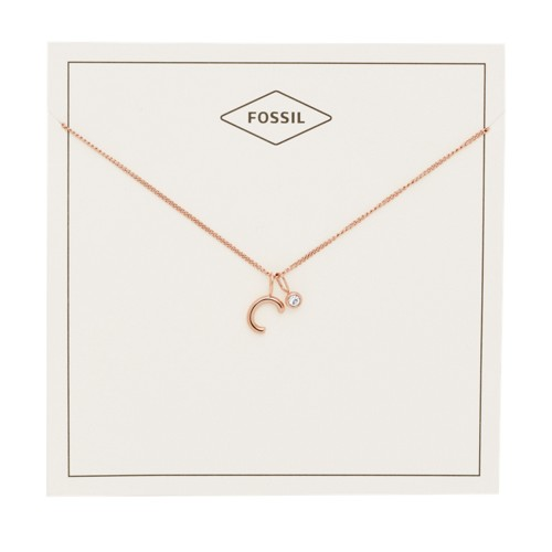 fossil Letter C Rose Gold-Tone Stainless Steel Necklace JF03036791