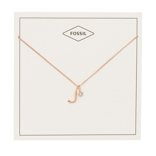 fossil Letter J Rose Gold-Tone Stainless Steel Necklace JF03039791