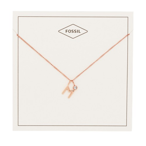 fossil Letter M Rose Gold-Tone Stainless Steel Necklace JF03042791