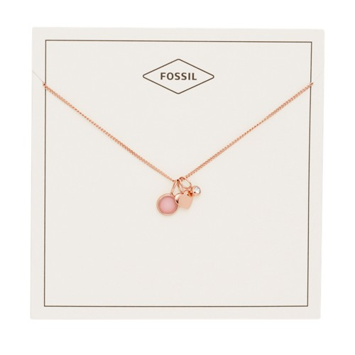 fossil Heart and Rose Quartz Necklace JF03046791