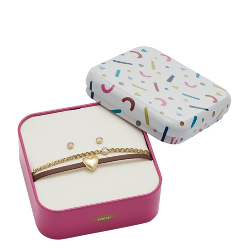 fossil Heart Gold-Tone Stainless Steel Studs and Bracelet Box Set JF03050710