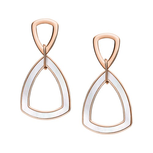 fossil Geometric Rose Gold-Tone Stainless Steel Earrings JF03065791