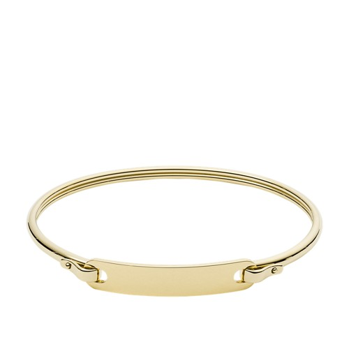 Plaque Gold-Tone Stainless Steel Bangle JF03077710
