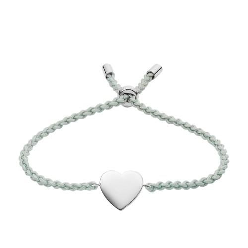 Heart Aqua Blue Nylon Bracelet JF03078040
