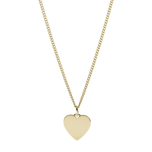 fossil Heart Gold-Tone Stainless Steel Necklace JF03080710