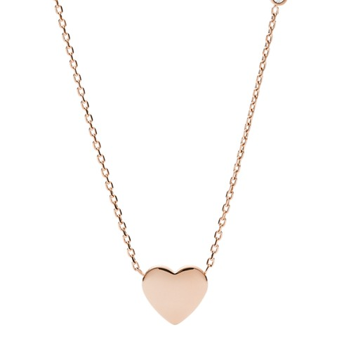 fossil Heart Rose Gold-Tone Stainless Steel Necklace JF03081791