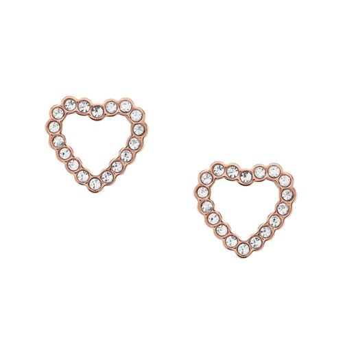 fossil Open Heart Rose Gold-Tone Stainless Steel Earrings JF03084791