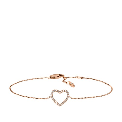 fossil Open Heart Rose Gold-Tone Stainless Steel Bracelet JF03085791