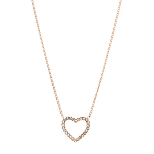 fossil Open Heart Rose Gold-Tone Stainless Steel Necklace JF03086791