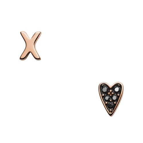 X And Heart Rose Gold-Tone Stainless Steel Studs JF03087791