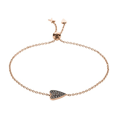 fossil Heart Rose Gold-Tone Stainless Steel Bracelet JF03089791