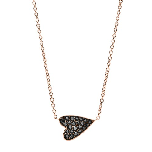 Heart Rose Gold-Tone Stainless Steel Necklace JF03090791