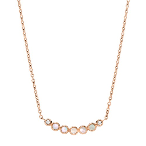 fossil Mother-of-Pearl Rose Gold-Tone Necklace JF03092791
