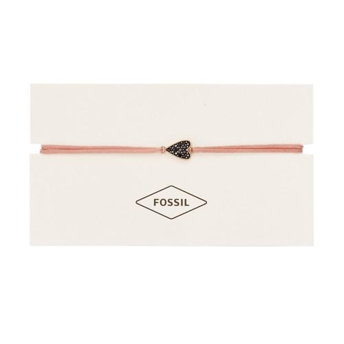 fossil Heart Dusty Pink Nylon Bracelet JF03094791