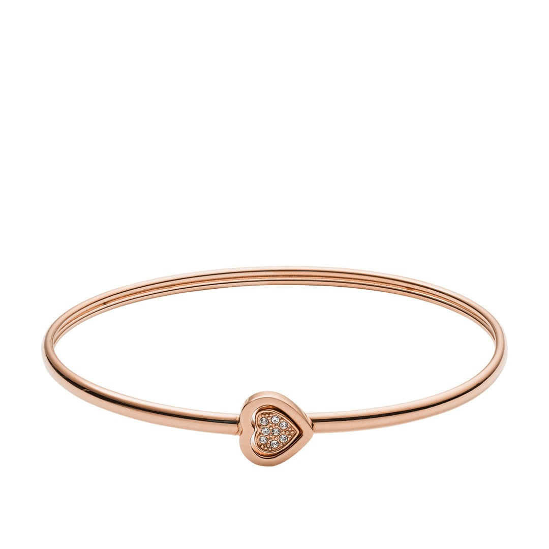 Fossil Heart Rose Gold-Tone Stainless Steel Bangle Jf03096791 jewelry - JF03..