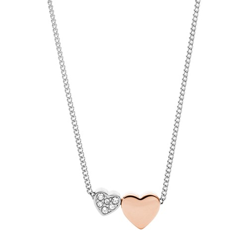 fossil Duo Hearts Two-Tone Stainless Steel Necklace JF03097998