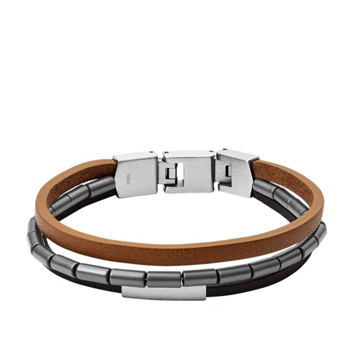 fossil Multi-Strand Black and Brown Leather Bracelet JF03104040