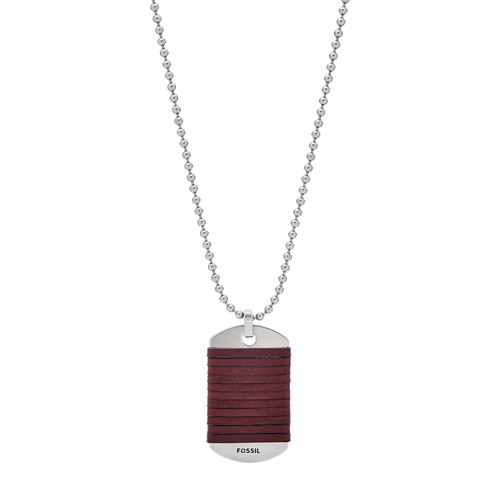 fossil Dog Tag Stainless Steel Necklace JF03107040